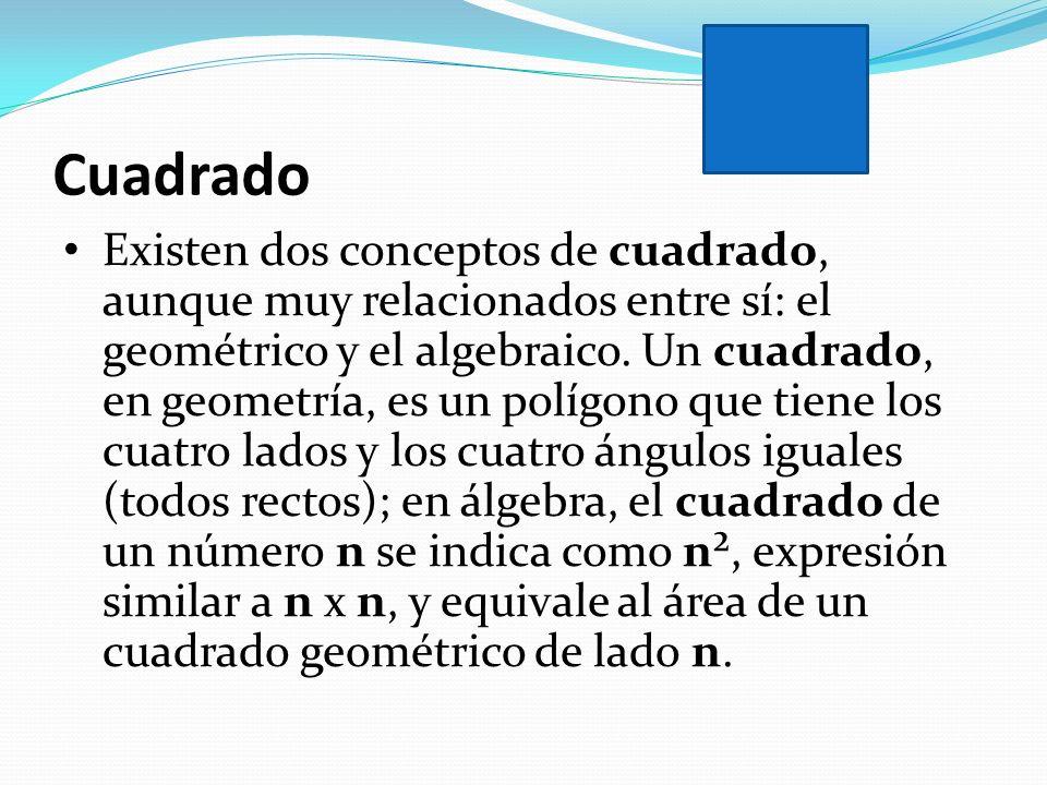 Cuadrado Existen dos conceptos de cuadrado, aunque muy relacionados entre sí: el geométrico y el algebraico. Un cuadrado, en geometría, es un polígono