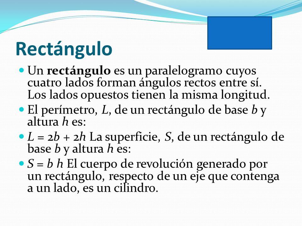 Rectángulo Un rectángulo es un paralelogramo cuyos cuatro lados forman ángulos rectos entre sí. Los lados opuestos tienen la misma longitud. El períme