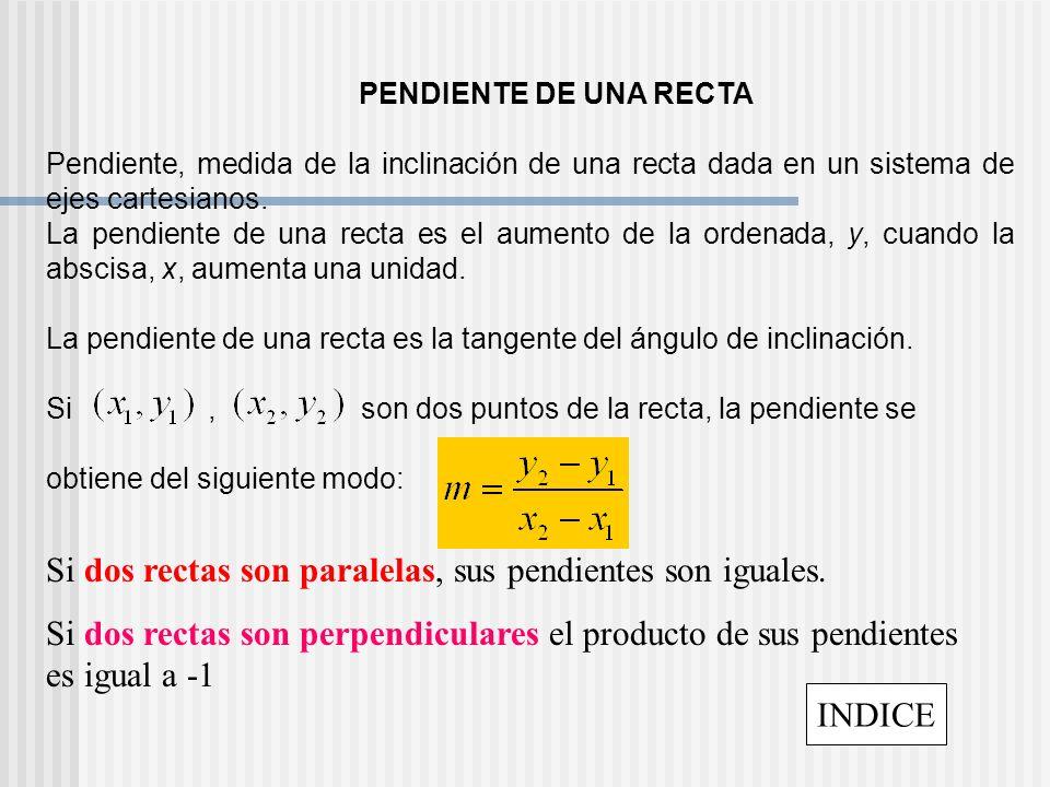 PENDIENTE DE UNA RECTA Pendiente, medida de la inclinación de una recta dada en un sistema de ejes cartesianos. La pendiente de una recta es el aument