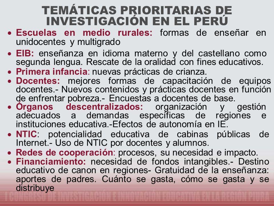 TEMÁTICAS PRIORITARIAS DE INVESTIGACIÓN EN EL PERÚ Escuelas en medio rurales: formas de enseñar en unidocentes y multigrado EIB: enseñanza en idioma m