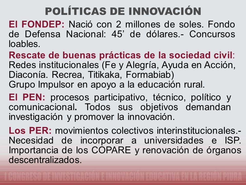 ASPECTOS PRIORITARIOS EN LA DECISION DE POLITICAS DE INVESTIGACIÓN E INNOVACIÓN Alentar la calidad ligada a a la equidad en la educación.