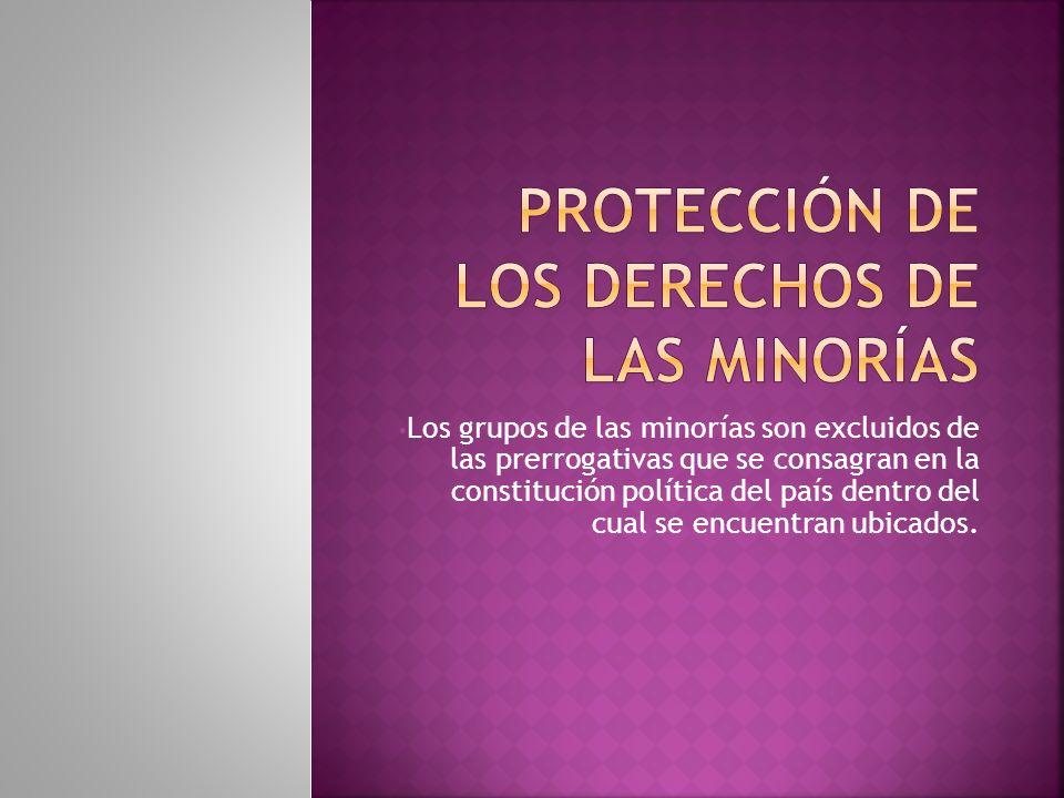 Los grupos de las minorías son excluidos de las prerrogativas que se consagran en la constitución política del país dentro del cual se encuentran ubicados.