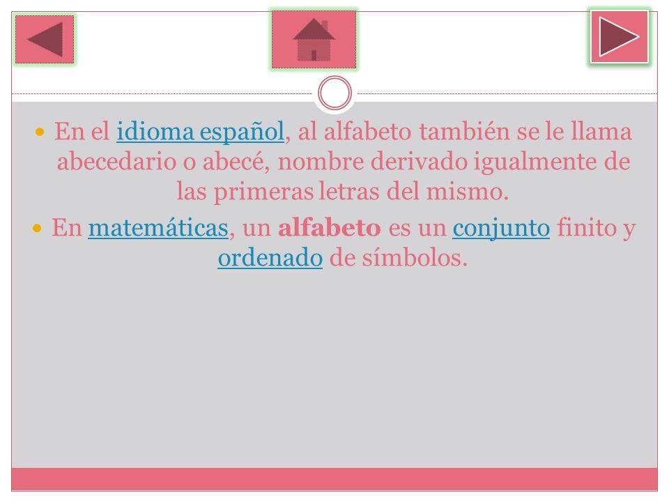 En el idioma español, al alfabeto también se le llama abecedario o abecé, nombre derivado igualmente de las primeras letras del mismo.idioma español E