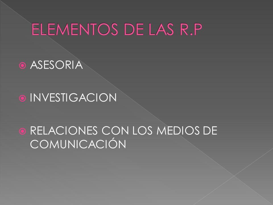 ASESORIA INVESTIGACION RELACIONES CON LOS MEDIOS DE COMUNICACIÓN