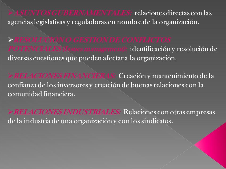 ASUNTOS GUBERNAMENTALES: relaciones directas con las agencias legislativas y reguladoras en nombre de la organización. RESOLUCIÓN O GESTION DE CONFLIC