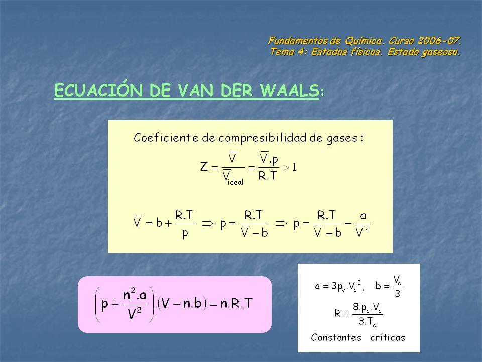 Fundamentos de Química. Curso 2006-07. Tema 4: Estados físicos. Estado gaseoso. ECUACIÓN DE VAN DER WAALS :