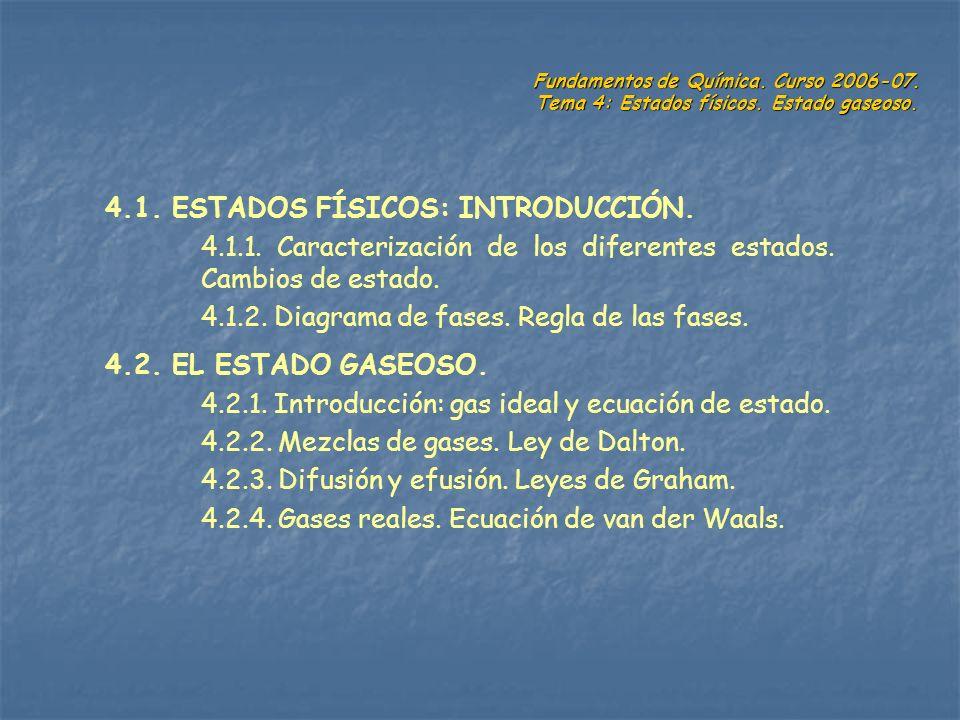 Fundamentos de Química. Curso 2006-07. Tema 4: Estados físicos. Estado gaseoso. 4.1. ESTADOS FÍSICOS: INTRODUCCIÓN. 4.1.1. Caracterización de los dife