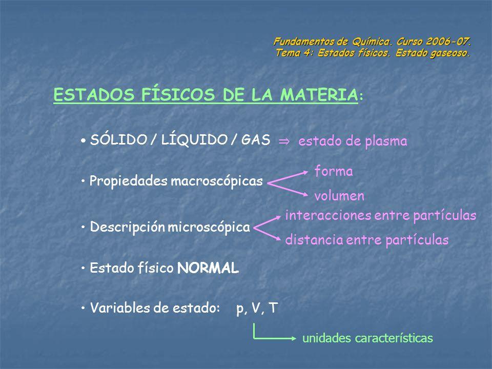 Fundamentos de Química. Curso 2006-07. Tema 4: Estados físicos. Estado gaseoso. ESTADOS FÍSICOS DE LA MATERIA : SÓLIDO / LÍQUIDO / GAS Propiedades mac