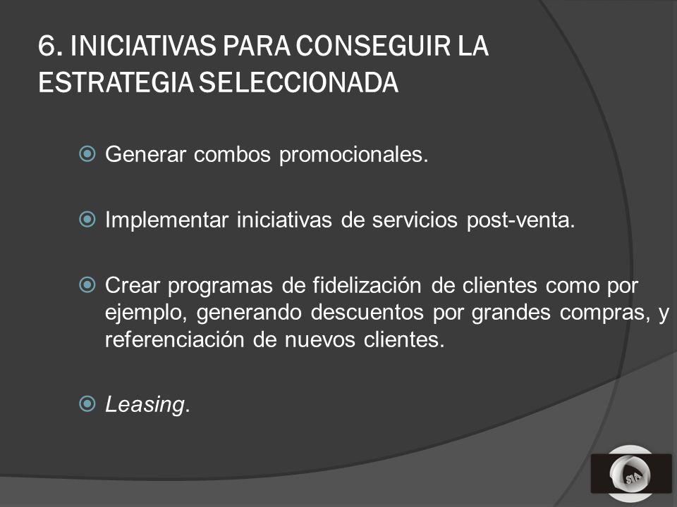 6. INICIATIVAS PARA CONSEGUIR LA ESTRATEGIA SELECCIONADA Generar combos promocionales.