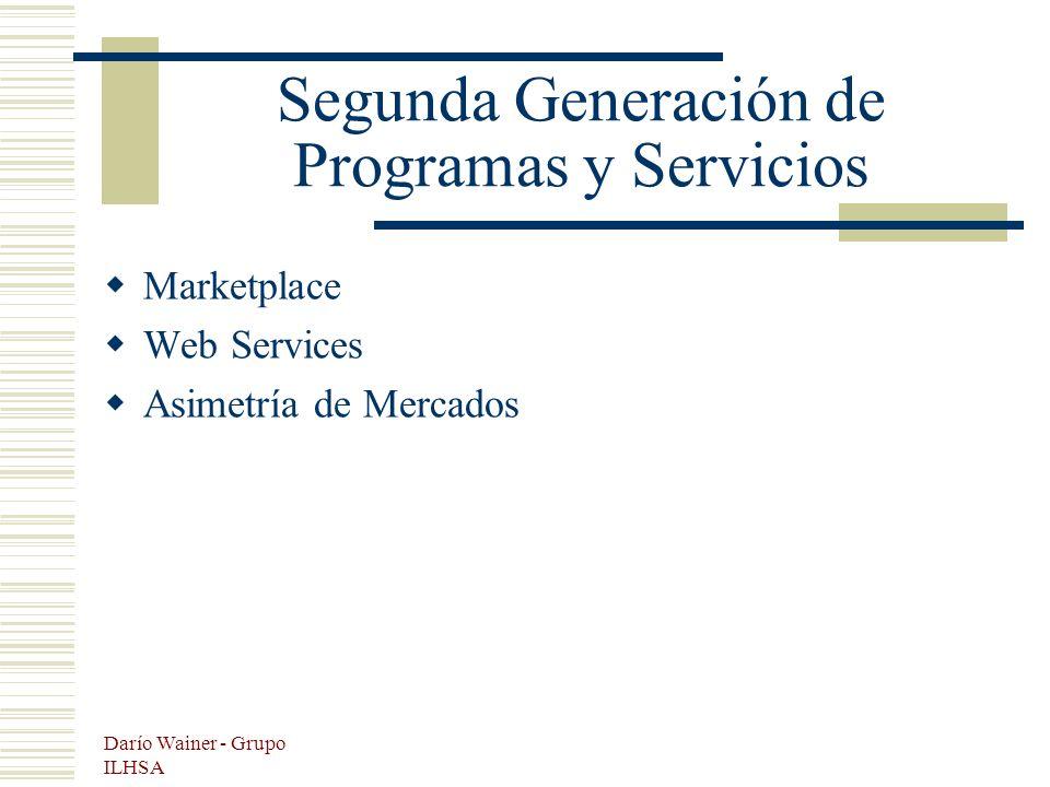 Darío Wainer - Grupo ILHSA Segunda Generación de Programas y Servicios Marketplace Web Services Asimetría de Mercados