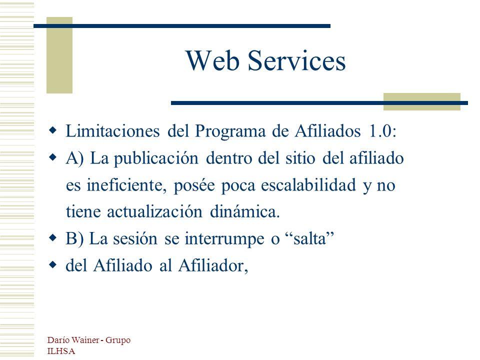 Darío Wainer - Grupo ILHSA Web Services Limitaciones del Programa de Afiliados 1.0: A) La publicación dentro del sitio del afiliado es ineficiente, posée poca escalabilidad y no tiene actualización dinámica.