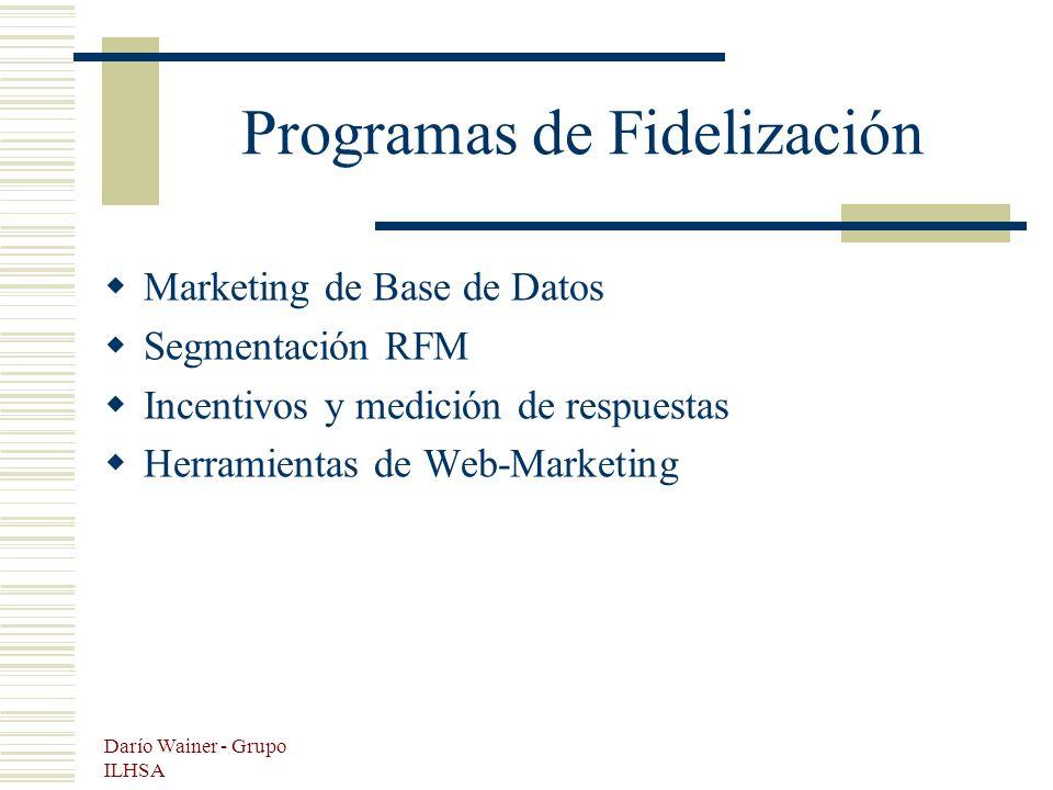Darío Wainer - Grupo ILHSA Programas de Fidelización Marketing de Base de Datos Segmentación RFM Incentivos y medición de respuestas Herramientas de Web-Marketing