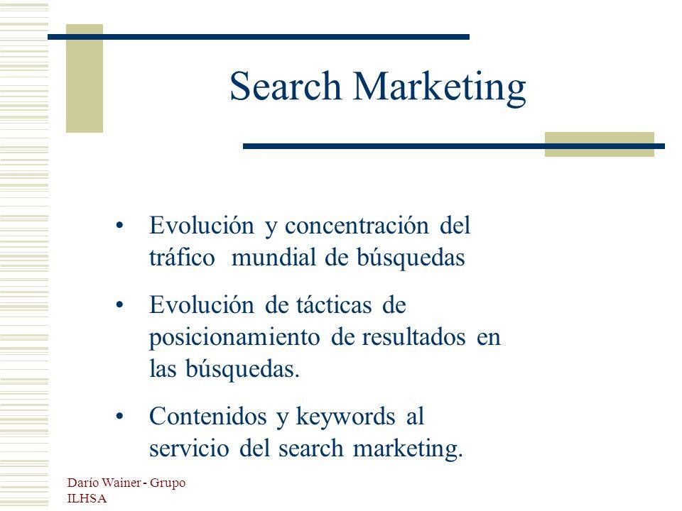 Darío Wainer - Grupo ILHSA Search Marketing Evolución y concentración del tráfico mundial de búsquedas Evolución de tácticas de posicionamiento de resultados en las búsquedas.