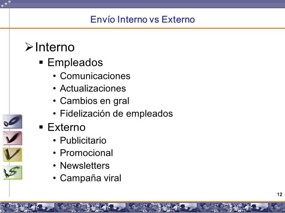 12 Envío Interno vs Externo Interno Empleados Comunicaciones Actualizaciones Cambios en gral Fidelización de empleados Externo Publicitario Promocional Newsletters Campaña viral