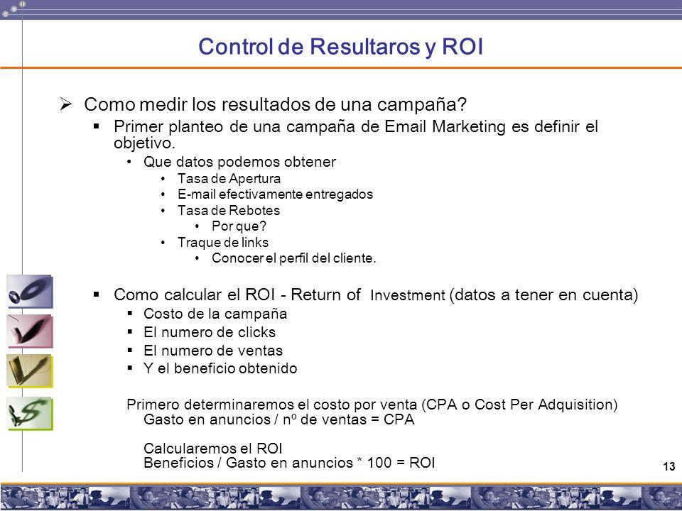 13 Control de Resultaros y ROI Como medir los resultados de una campaña.