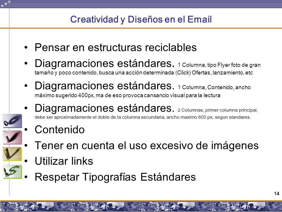 14 Creatividad y Diseños en el Email Pensar en estructuras reciclables Diagramaciones estándares.