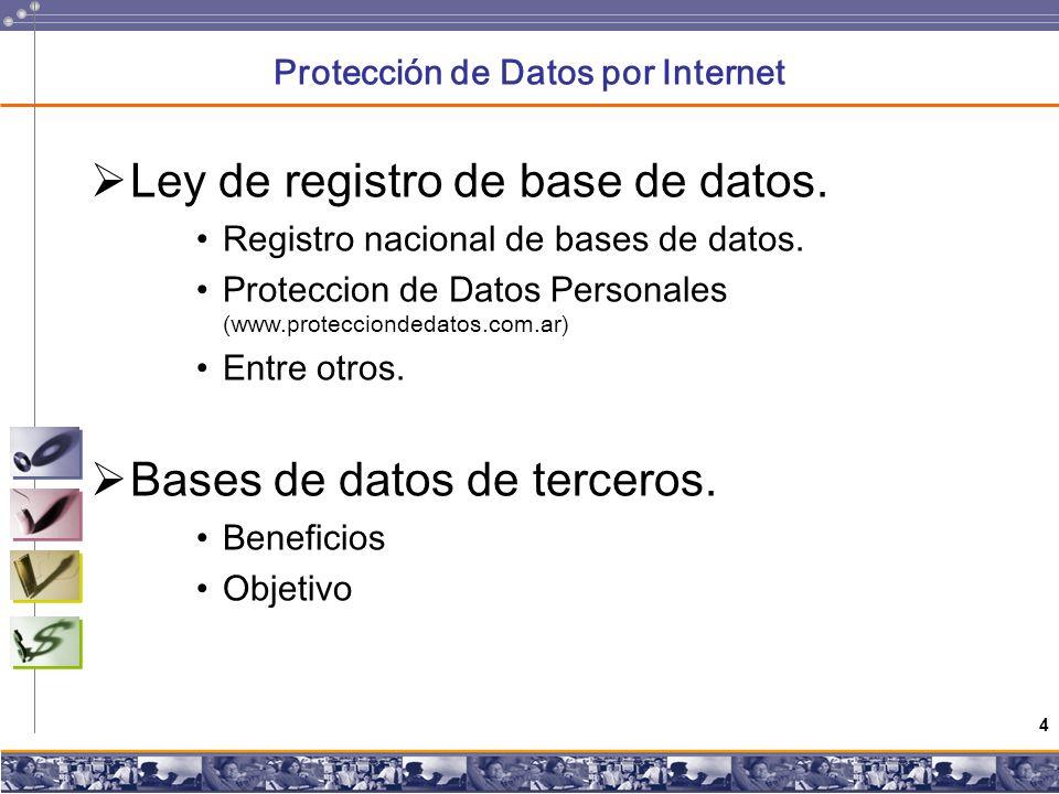 4 Protección de Datos por Internet Ley de registro de base de datos.