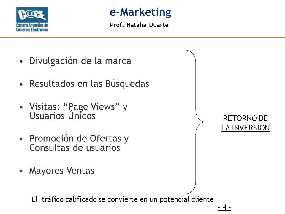 Prof. Natalia Duarte e-Marketing - 4 - RETORNO DE LA INVERSION Divulgación de la marca Resultados en las Búsquedas Visitas: Page Views y Usuarios Únic