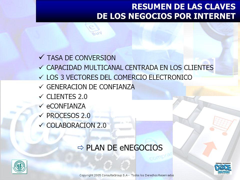 Copyright 2005 ConsultaGroup S.A - Todos los Derechos Reservados RESUMEN DE LAS CLAVES DE LOS NEGOCIOS POR INTERNET TASA DE CONVERSION CAPACIDAD MULTI