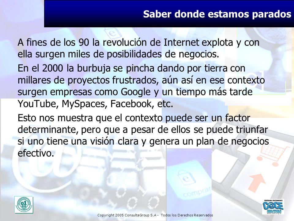 Copyright 2005 ConsultaGroup S.A - Todos los Derechos Reservados Saber donde estamos parados A fines de los 90 la revolución de Internet explota y con