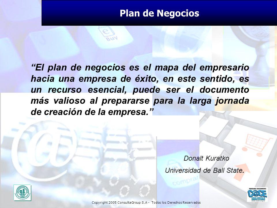 Copyright 2005 ConsultaGroup S.A - Todos los Derechos Reservados Plan de Negocios El plan de negocios es el mapa del empresario hacia una empresa de é