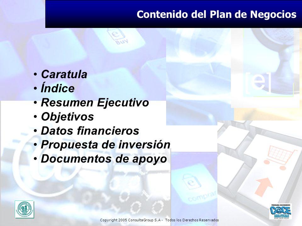 Copyright 2005 ConsultaGroup S.A - Todos los Derechos Reservados Contenido del Plan de Negocios Caratula Índice Resumen Ejecutivo Objetivos Datos fina