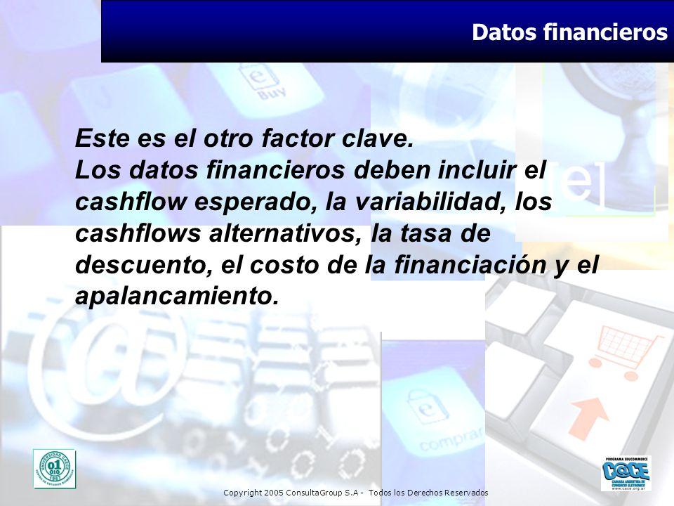 Copyright 2005 ConsultaGroup S.A - Todos los Derechos Reservados Datos financieros Este es el otro factor clave. Los datos financieros deben incluir e