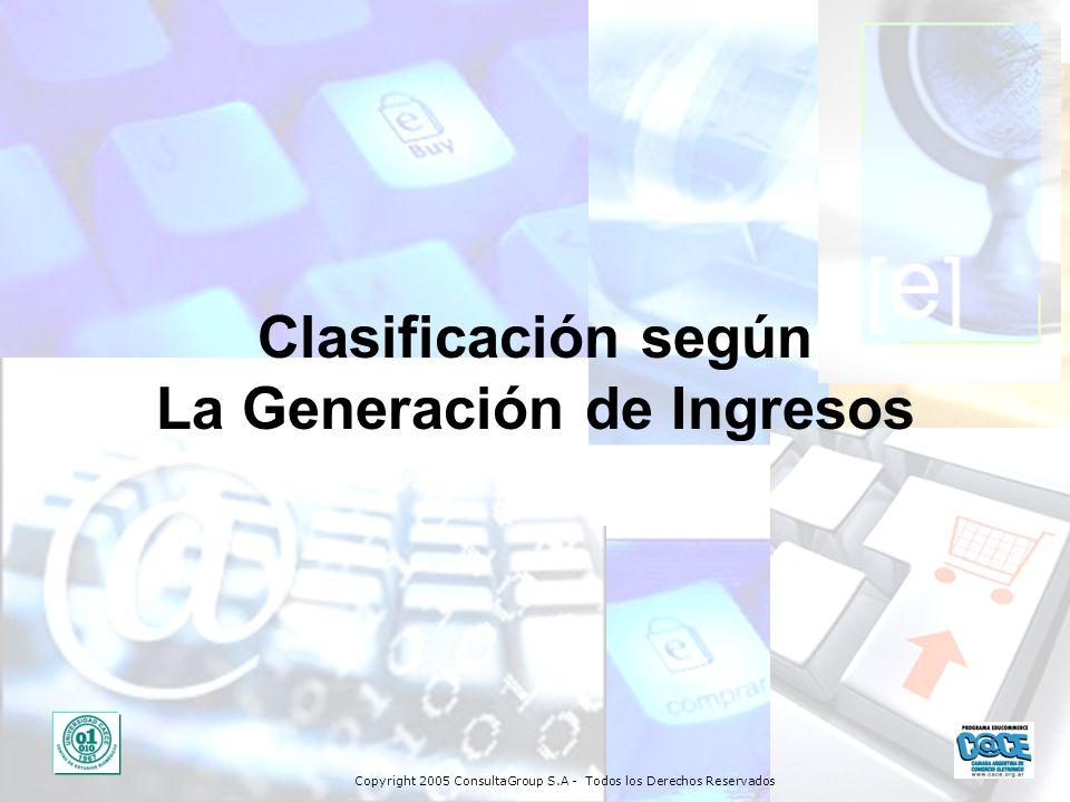 Copyright 2005 ConsultaGroup S.A - Todos los Derechos Reservados Clasificación según La Generación de Ingresos