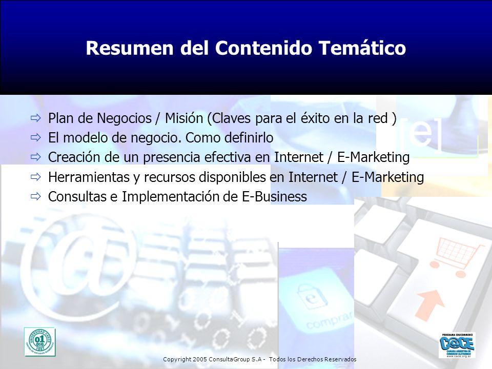 Copyright 2005 ConsultaGroup S.A - Todos los Derechos Reservados Plan de Negocios / Misión (Claves para el éxito en la red ) El modelo de negocio. Com