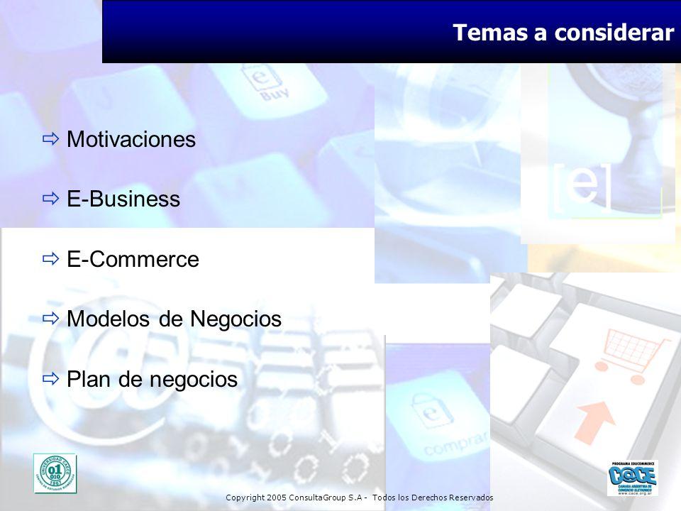 Copyright 2005 ConsultaGroup S.A - Todos los Derechos Reservados Temas a considerar Motivaciones E-Business E-Commerce Modelos de Negocios Plan de neg