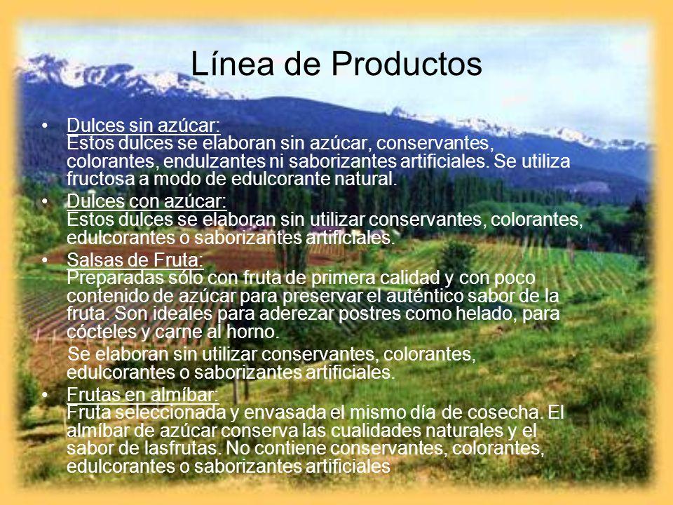 Línea de Productos Dulces sin azúcar: Estos dulces se elaboran sin azúcar, conservantes, colorantes, endulzantes ni saborizantes artificiales. Se util