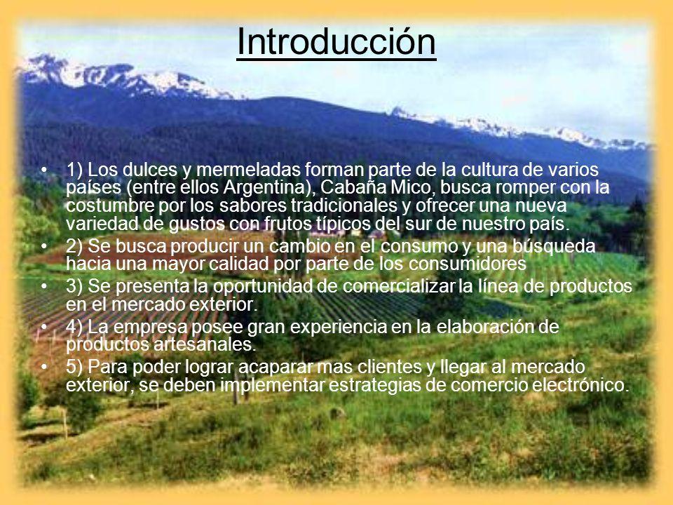 Introducción 1) Los dulces y mermeladas forman parte de la cultura de varios países (entre ellos Argentina), Cabaña Mico, busca romper con la costumbr