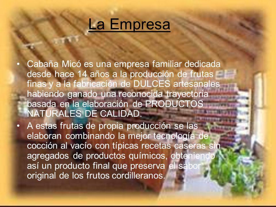 La Empresa Cabaña Micó es una empresa familiar dedicada desde hace 14 años a la producción de frutas finas y a la fabricación de DULCES artesanales ha