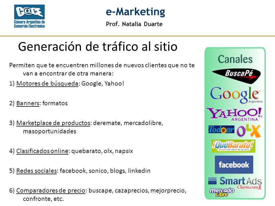 Prof. Natalia Duarte e-Marketing Permiten que te encuentren millones de nuevos clientes que no te van a encontrar de otra manera: 1) Motores de búsque