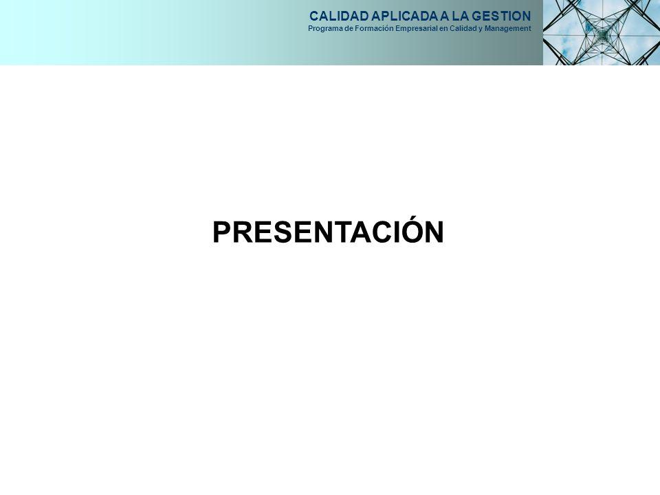CALIDAD APLICADA A LA GESTION Programa de Formación Empresarial en Calidad y Management PRESENTACIÓN