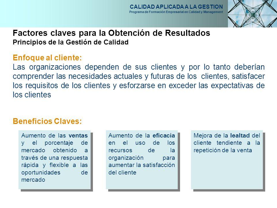 CALIDAD APLICADA A LA GESTION Programa de Formación Empresarial en Calidad y Management Enfoque al cliente: Las organizaciones dependen de sus cliente