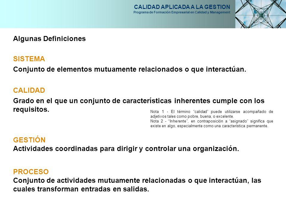 CALIDAD APLICADA A LA GESTION Programa de Formación Empresarial en Calidad y Management Algunas Definiciones SISTEMA Conjunto de elementos mutuamente