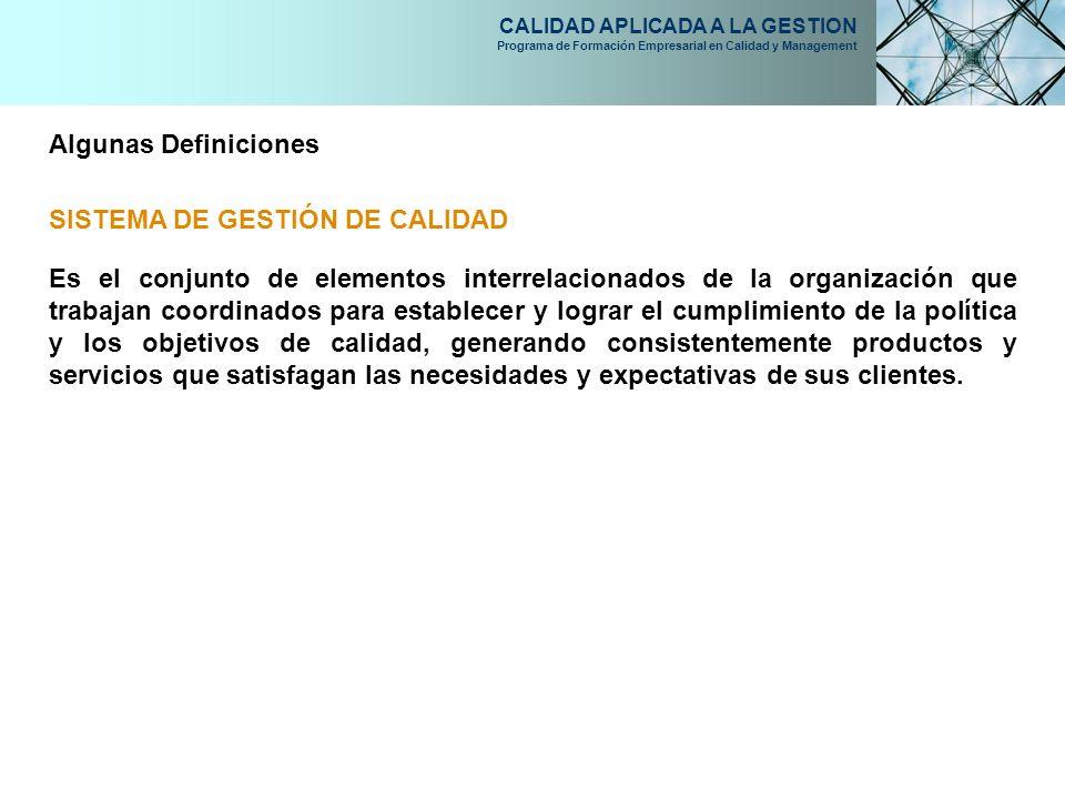 CALIDAD APLICADA A LA GESTION Programa de Formación Empresarial en Calidad y Management Algunas Definiciones SISTEMA DE GESTIÓN DE CALIDAD Es el conju