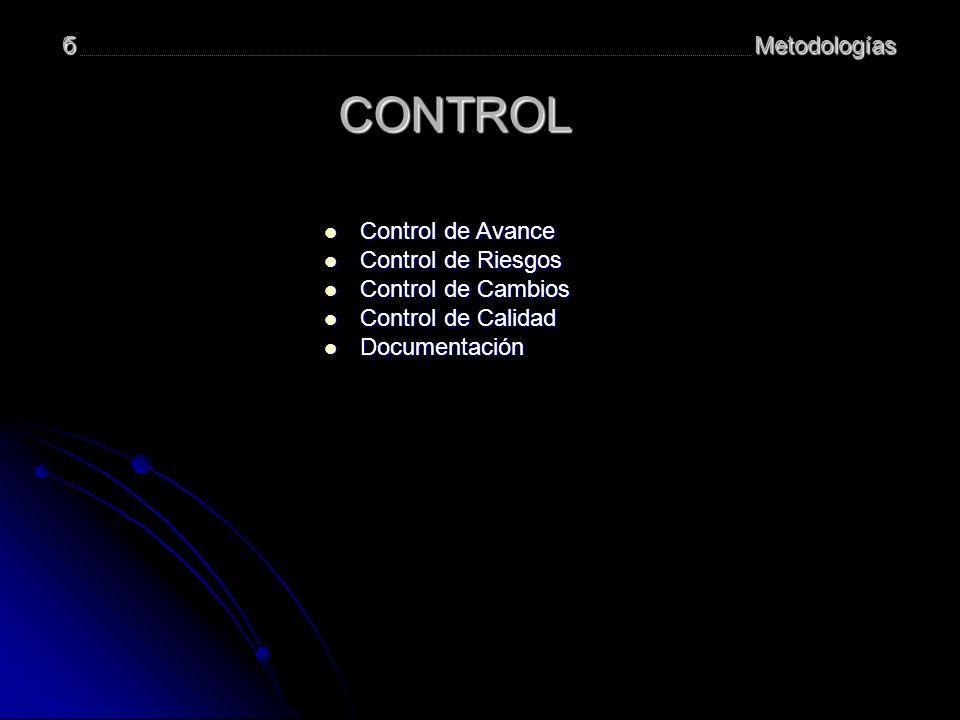 Metodologíasб CONTROL Control de Avance Control de Avance Control de Avance Control de Avance Control de Riesgos Control de Riesgos Control de Riesgos Control de Riesgos Control de Cambios Control de Cambios Control de Cambios Control de Cambios Control de Calidad Control de Calidad Control de Calidad Control de Calidad Documentación Documentación Documentación