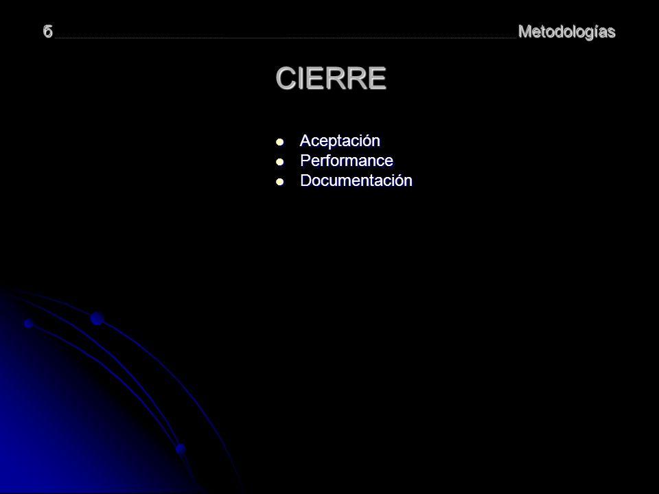 Metodologíasб CIERRE Aceptación Aceptación Performance Performance Documentación Documentación