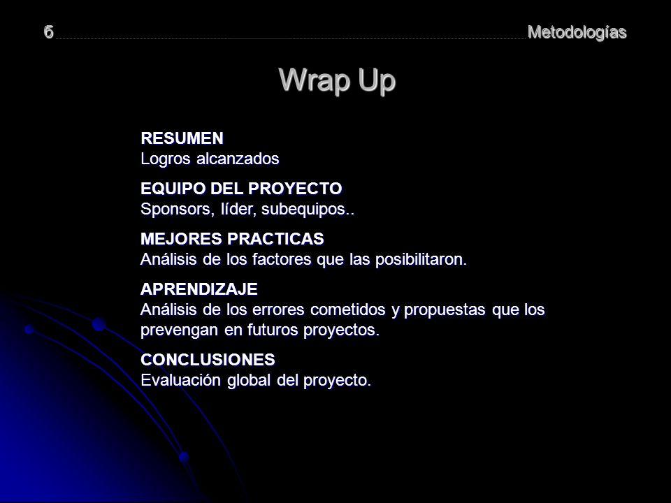 Metodologíasб Wrap Up RESUMEN Logros alcanzados Logros alcanzados EQUIPO DEL PROYECTO EQUIPO DEL PROYECTO Sponsors, líder, subequipos..