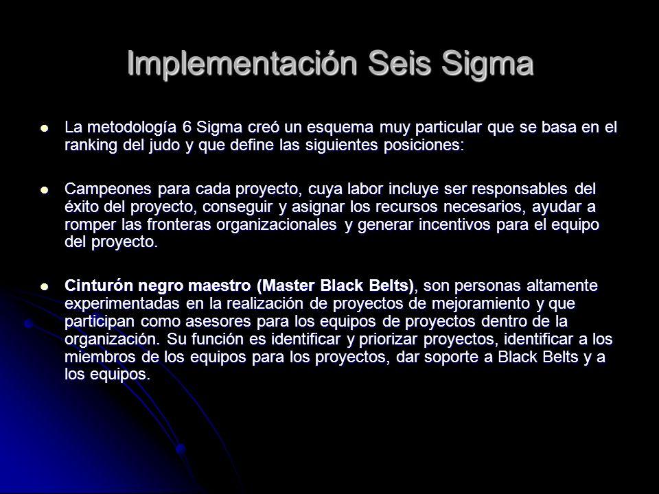 Implementación Seis Sigma La metodología 6 Sigma creó un esquema muy particular que se basa en el ranking del judo y que define las siguientes posicio