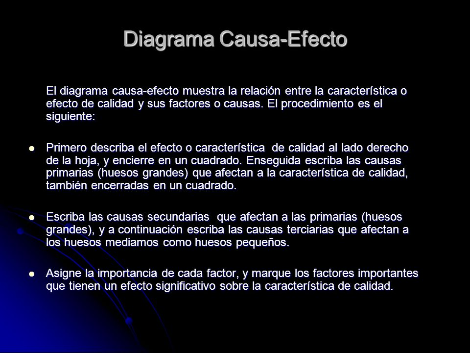 Diagrama Causa-Efecto El diagrama causa-efecto muestra la relación entre la característica o efecto de calidad y sus factores o causas. El procedimien