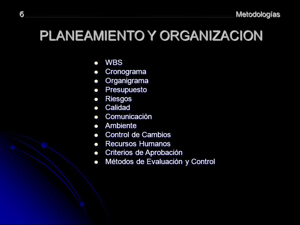 Metodologíasб PLANEAMIENTO Y ORGANIZACION WBS WBS WBS Cronograma Cronograma Cronograma Organigrama Organigrama Organigrama Presupuesto Presupuesto Pre