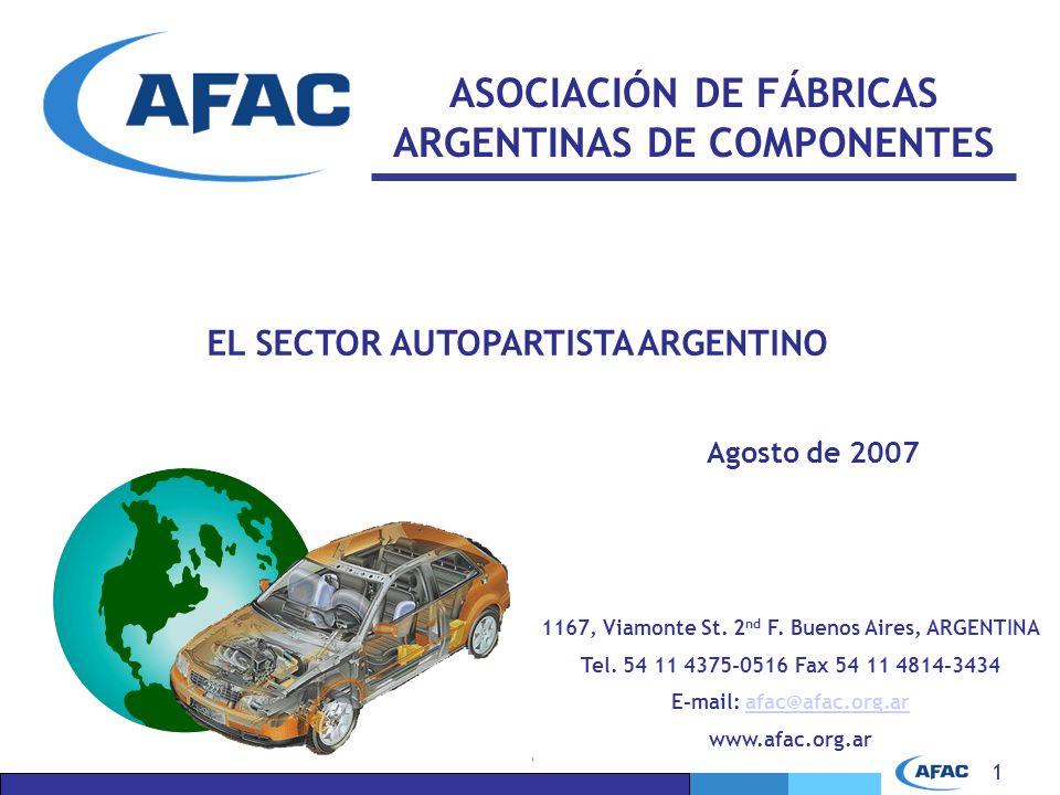 1 ASOCIACIÓN DE FÁBRICAS ARGENTINAS DE COMPONENTES EL SECTOR AUTOPARTISTA ARGENTINO Agosto de 2007 1167, Viamonte St.