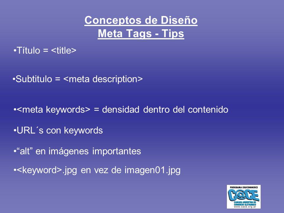 Conceptos de Diseño Meta Tags - Tips Título = Subtitulo = = densidad dentro del contenido URL´s con keywords alt en imágenes importantes.jpg en vez de imagen01.jpg