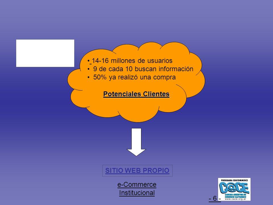 - 6 - SITIO WEB PROPIO Potenciales Clientes e-Commerce Institucional 14-16 millones de usuarios 9 de cada 10 buscan información 50% ya realizó una compra