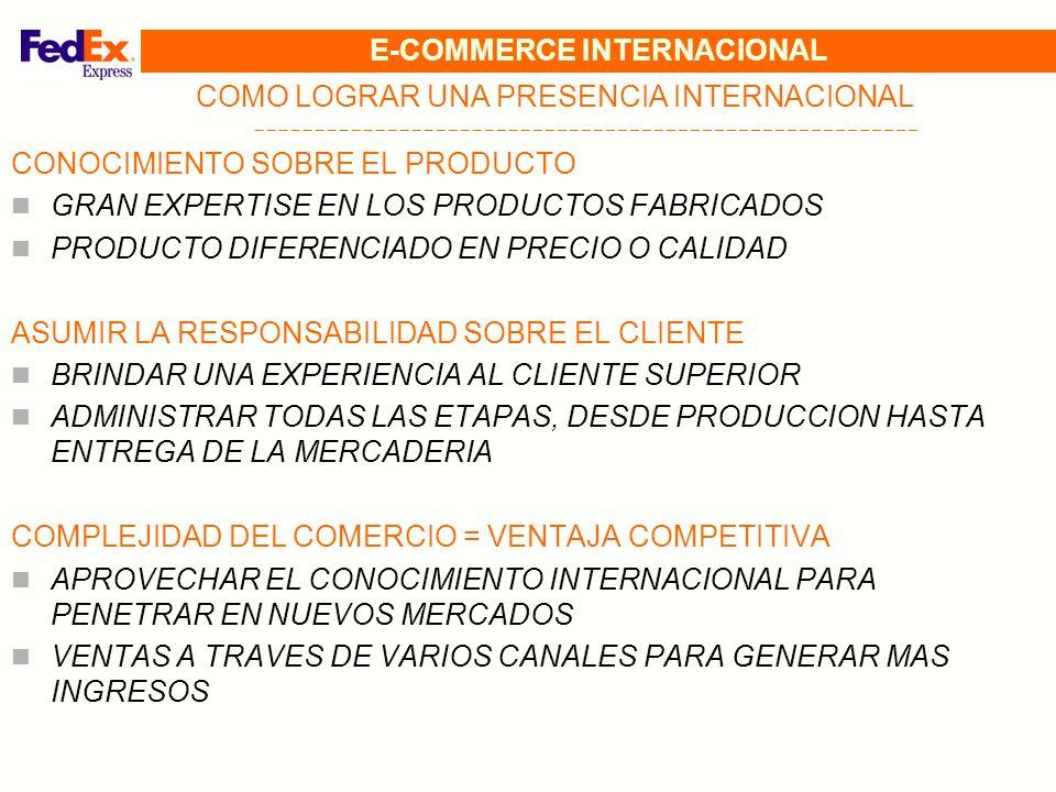 E-COMMERCE INTERNACIONAL COMO LOGRAR UNA PRESENCIA INTERNACIONAL CONOCIMIENTO SOBRE EL PRODUCTO GRAN EXPERTISE EN LOS PRODUCTOS FABRICADOS PRODUCTO DI