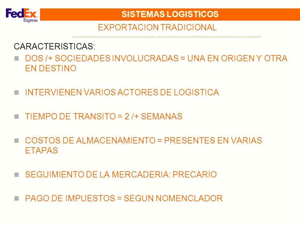 SISTEMAS LOGISTICOS EXPORTACION TRADICIONAL CARACTERISTICAS: DOS /+ SOCIEDADES INVOLUCRADAS = UNA EN ORIGEN Y OTRA EN DESTINO INTERVIENEN VARIOS ACTOR