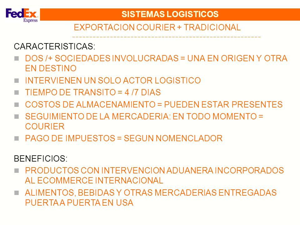SISTEMAS LOGISTICOS EXPORTACION COURIER + TRADICIONAL CARACTERISTICAS: DOS /+ SOCIEDADES INVOLUCRADAS = UNA EN ORIGEN Y OTRA EN DESTINO INTERVIENEN UN